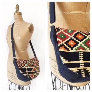 Handbags - Boho embroidered navy crossbody bag.